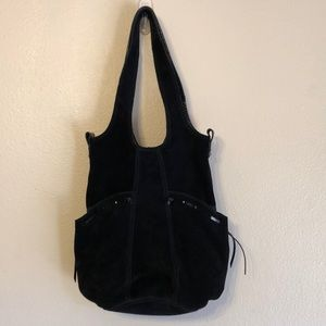 Lucky Brand black suede leather bucket bag